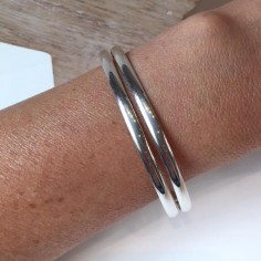 Large double bangle bracelet silver 925
