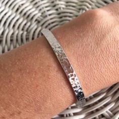 Hammered flat open bangle bracelet silver 925