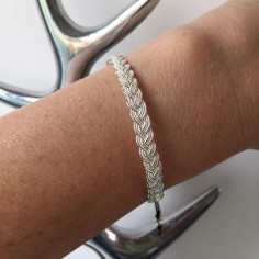 Braided bangle bracelet silver 925