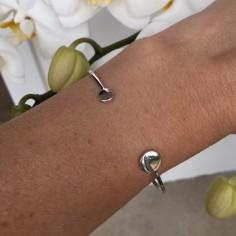 Double pastille thin bangle bracelet silver 925