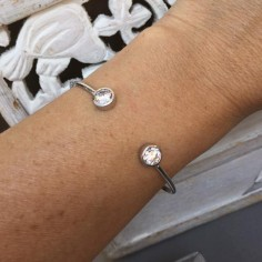 Two zircons thin bangle silver 925