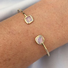 Pearly white stones bangle bracelet gold plated