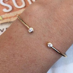 Two small zircons thin bangle gold plated