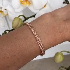 Braided bangle bracelet rose gold plated