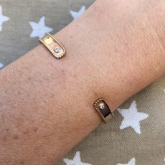 Two small zircons flat bangle gold plated