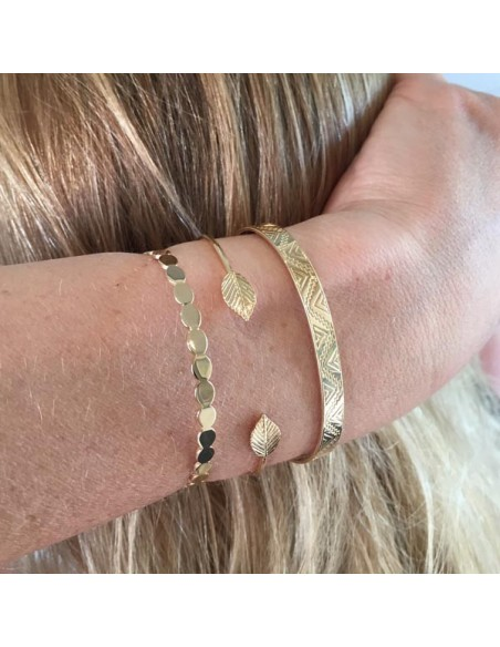 Double leaves thin bangle bracelet gold plated