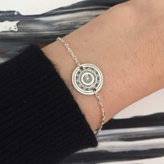 Chain bracelet silver 925 small ethnic medal