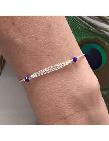 Triple chains bracelet silver 925 small blue stones