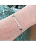 Triple chains bracelet silver 925 small green onyx