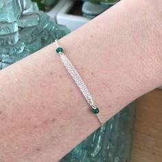 Triple chains bracelet silver 925 small green onyx