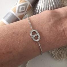 Chain bracelet silver 925 marine link zirconium