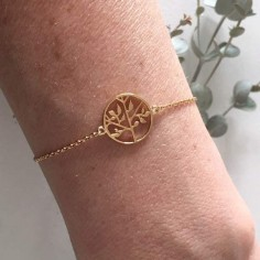 Chain bracelet gold plated tree of life