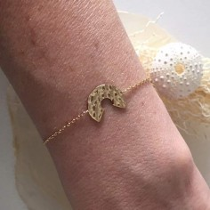 Chain bracelet gold plated hammered open target