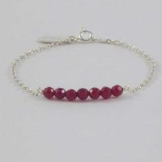 Bracelet chaine argent Barrette pierres agate rouge