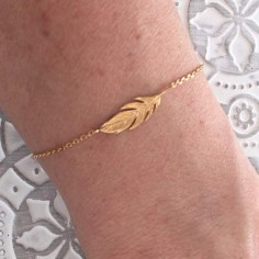 Chain bracelet gold plated feather