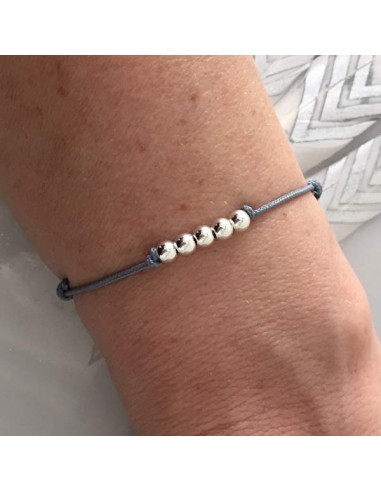 Cord bracelet  silver 925 five small beads