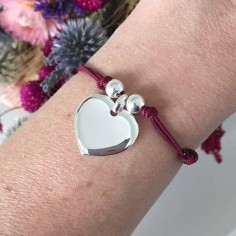 Cord bracelet silver 925 heart medal with beads