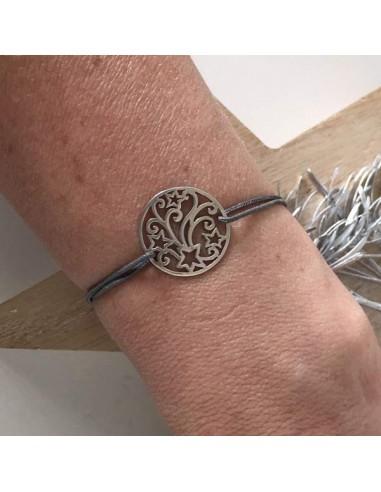 Cord bracelet silver 925 shooting star medal