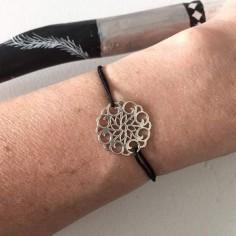 Cord bracelet silver 925 rose medal