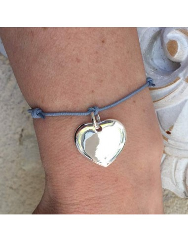 Cord bracelet silver 925 heart medal
