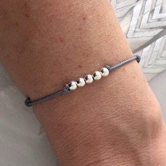 Child silver 925 five small beads cord bracelet