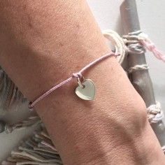 Child gold plated small heart medal cord bracelet