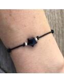 Cord bracelet onyx star silver beads
