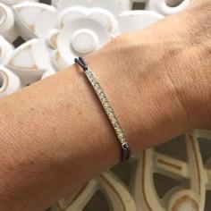 Cord bracelet silver 925 bar zirconium