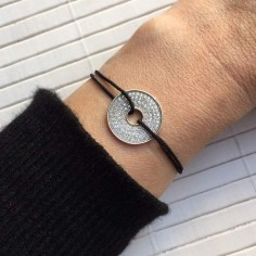 Cord bracelet silver 925 target zirconium