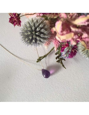 Faceted amethyst drop cord necklace