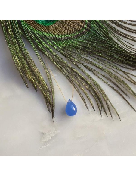 Faceted blue agate drop cord necklace
