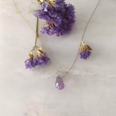 Faceted light amethyst drop cord necklace