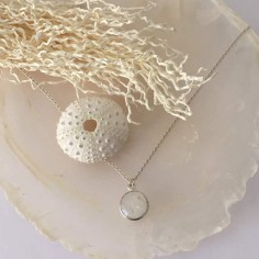 Faceted white moonstone chain necklace silver 925