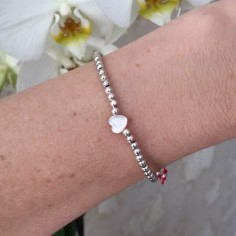 Elise bracelet silver 925 small beads white small heart