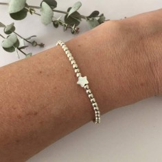 Elise bracelet silver 925 small beads white mother of pearl star
