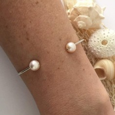 Double pink freshwater pearls thin bangle bracelet silver 925