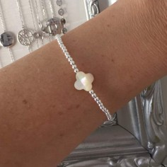 Bracelet silver 925 small beads white cross mother of pearl