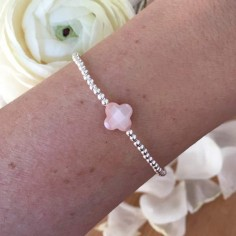 Bracelet silver 925 small beads pink cross mother of pearl