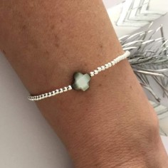 Bracelet silver 925 small beads grey cross mother of pearl