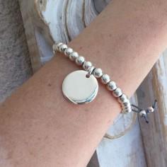 Elise bracelet silver 925 big beads medal