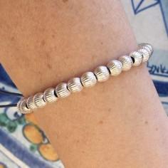 Elise bracelet silver 925 big ridge beads