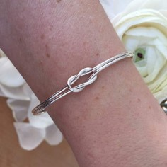Reef knot thin bangle bracelet silver 925