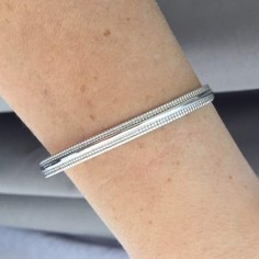 Beads lines open bangle bracelet silver 925