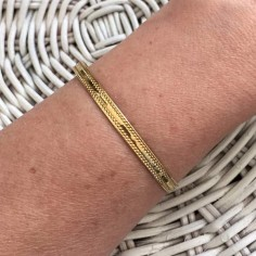 Double line flat bangle bracelet gold plated