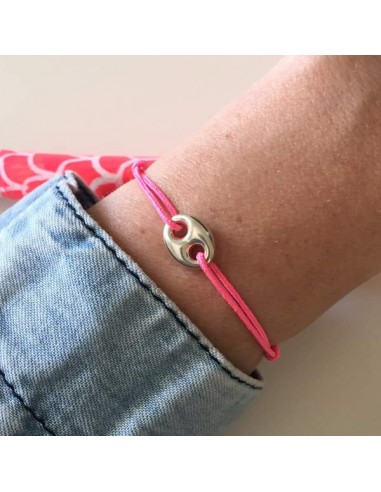 Child silver 925 small coffee bean cord bracelet