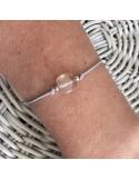 Cord bracelet square stone silver beads