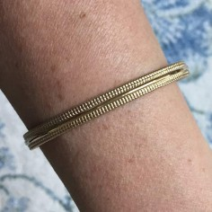 Beads lines open bangle bracelet gold plated