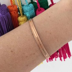 Double line flat bangle bracelet rose gold plated