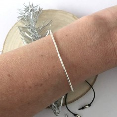 Thin big bangle bracelet silver 925 cord