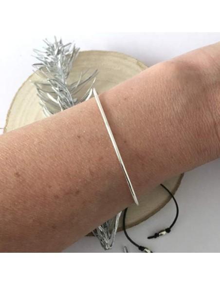 Thin big bangle bracelet silver 925 cord